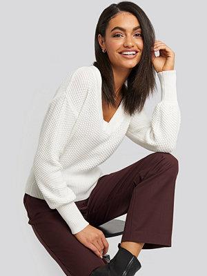 NA-KD Short Knitted Wide Rib Sweater vit