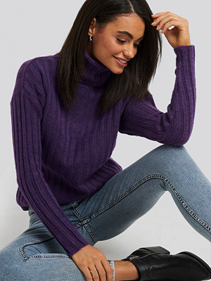 Trendyol Ribbed Turtleneck Knitted Sweater lila