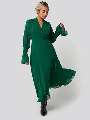 Trendyol Lapel Detailed Long Dress grön