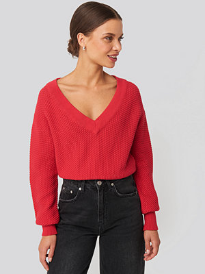 NA-KD Short Knitted Wide Rib Sweater röd