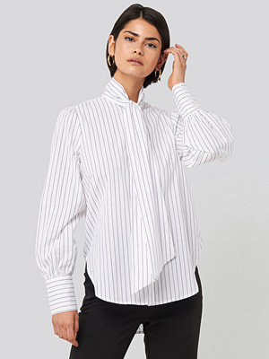 NA-KD Classic Striped Tie Knot Shirt vit