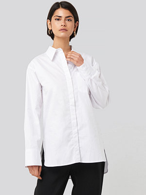NA-KD Classic Oversized Cotton Pocket Shirt vit