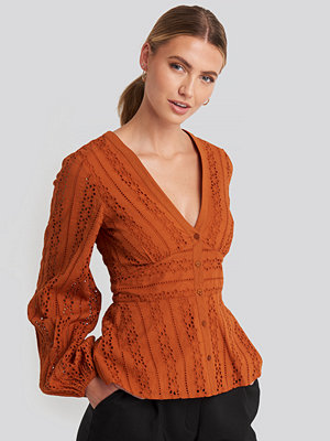 NA-KD Boho Anglaise Balloon Sleeve Blouse orange