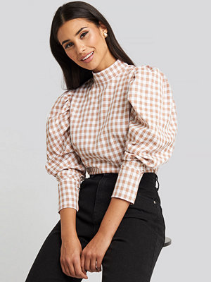 NA-KD Boho High Collar Checked Blouse rosa vit multicolor