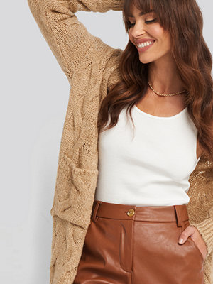 Trendyol Long Knitted Cardigan beige