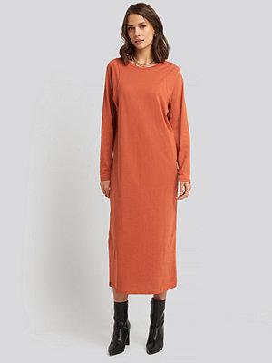 NA-KD Basic Seam Detail Long Sleeve T-shirt Dress orange