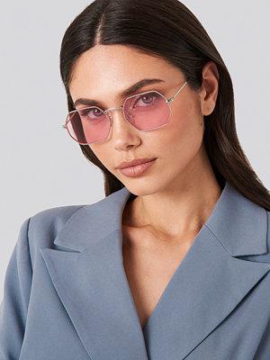 Solglasögon - NA-KD Accessories Octagon Sunglasses rosa