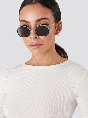 Solglasögon - NA-KD Accessories Octagon Sunglasses svart silver