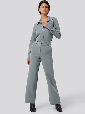 NA-KD Classic byxor Contrast Seam Suit Trousers blå
