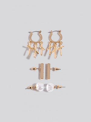 NA-KD Accessories smycke Multipack Cross Pearl Earrings guld