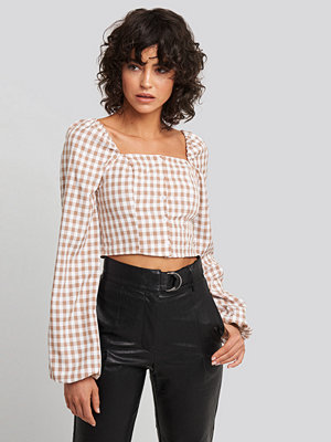 NA-KD Boho Check Puff Sleeve Blouse rosa vit multicolor