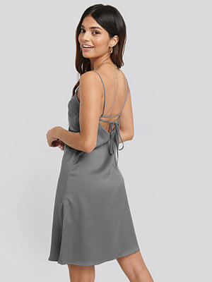 NA-KD Party Back Strap Detail Satin Dress silver