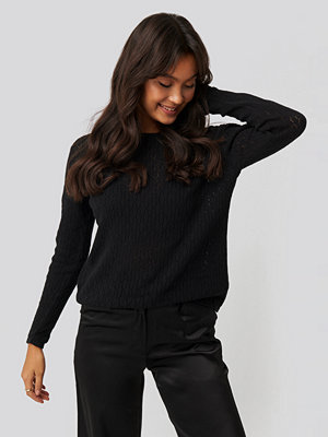 NA-KD Lace Stitch Round Neck Sweater svart