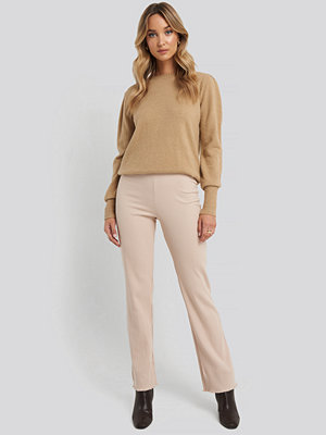 NA-KD Flare Ribbed Pants beige