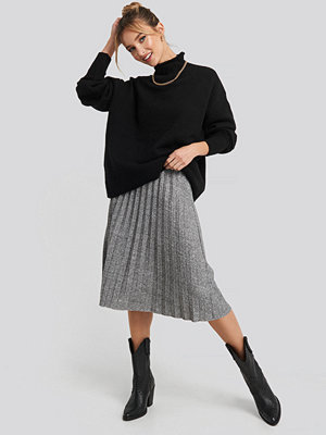 Trendyol Eyelash Pleated Knitted Skirt grå