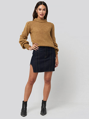 NA-KD Waist Dart Detail Denim Mini Skirt blå