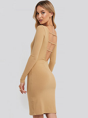 NA-KD Party Open Back Ribbed Mini Dress beige