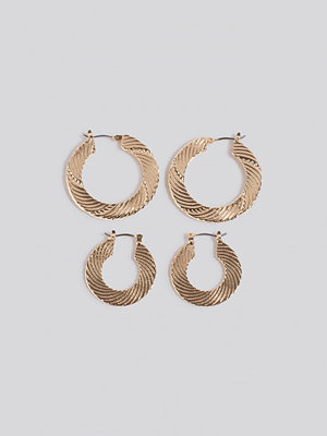 NA-KD Accessories smycke 2-pack Structured Hoop Earrings guld