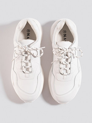 NA-KD Shoes Low Striped Lace Trainers vit