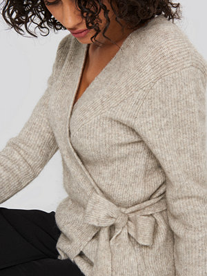 NA-KD Trend Alpaca Wrap Around Knitted Sweater beige