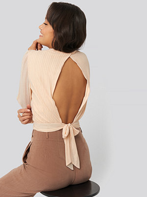NA-KD Party Tie Back Glittery Top rosa beige