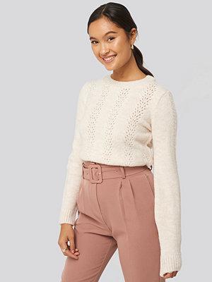 Trendyol Openwork Knitted Sweater vit beige
