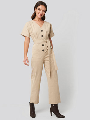 NA-KD Belted Button Up Jumpsuit beige