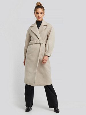 Trendyol Ring Buckle Belt Detailed Long Coat beige