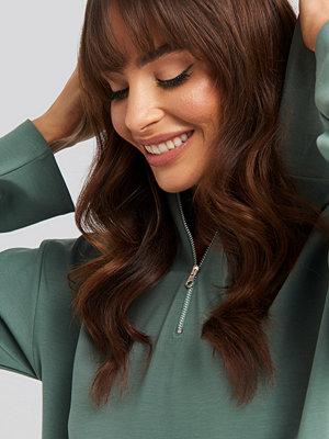 NA-KD Concealed Zip Up Hoodie grön