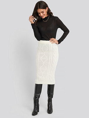 Trendyol Knit Detail Midi Skirt vit
