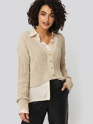 Cardigans - NA-KD Waffle Knit Cropped Cardigan beige