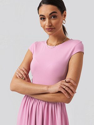 NA-KD Full Skirt Jersey Maxi Dress rosa