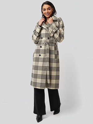 NA-KD Trend Checked Belted Coat multicolor