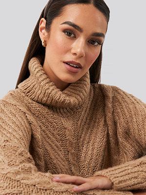Tröjor - Trendyol Turtleneck Long Knitted Sweater beige