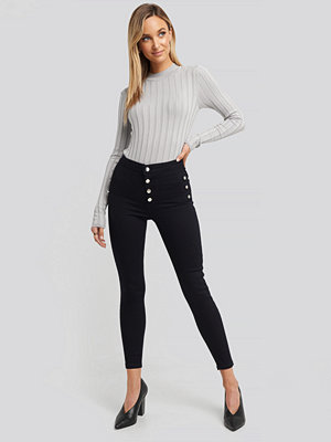 Trendyol Button Detailed High Waist Skinny Jeans blå