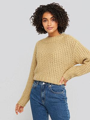 Tröjor - NA-KD Trend Heavy Knitted Wide Rib Sweater beige