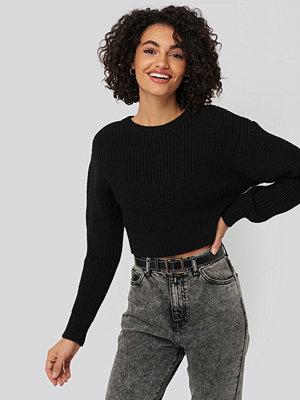 Tröjor - NA-KD Round Shoulder Cropped Sweater svart