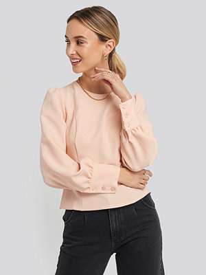 Trendyol Puff Sleeve Short Blouse rosa
