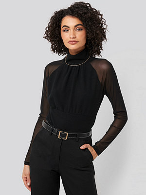 Trendyol Stand Collar Sheer Blouse svart