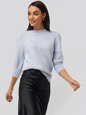 Tröjor - NA-KD Trend Short Puff Sleeve Knitted Sweater blå