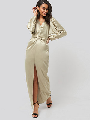 NA-KD Party Belted Batwing Sleeve Maxi Dress beige