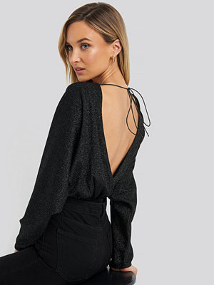 NA-KD Party Open Back Plunge Neck Lurex Bodysuit svart