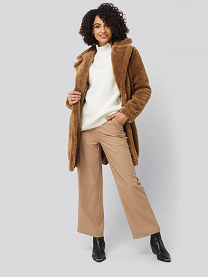 Trendyol Faux Fur Long Coat brun