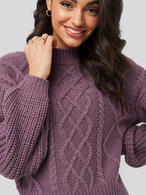 Tröjor - NA-KD Cable Knitted Balloon Sleeve Sweater lila