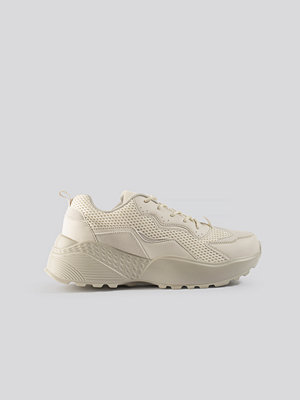 NA-KD Shoes Big Mesh Rubber Detail Trainers beige