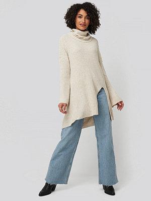 Trendyol Front Slit Turtleneck Knitted Tunic beige