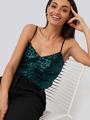 Trendyol Thin Strap Sequin Top grön