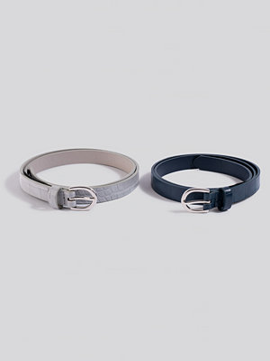 Bälten & skärp - NA-KD Accessories Double Pack Slim Belts grå blå