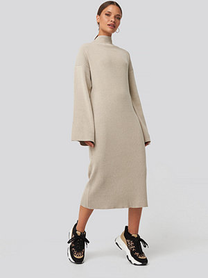 NA-KD Trend High Neck Wide Sleeve Knitted Dress beige
