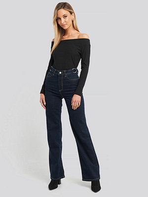 Trendyol High Waist Wide Leg Jeans blå